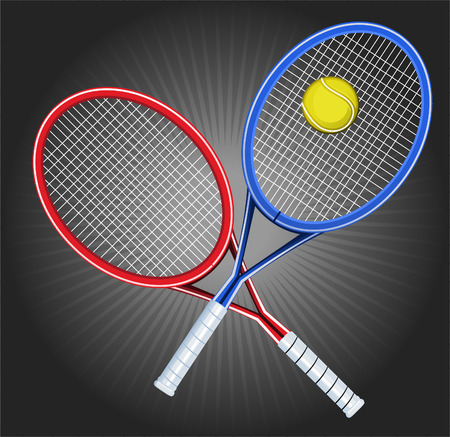 Tennis Blue and Red Opposed Rackets with yellow ball shinning vector illustration.