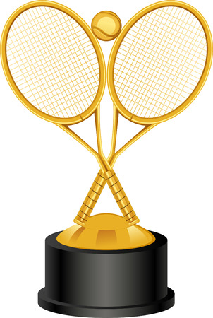 Tennis rackets golden trophy vector illustration