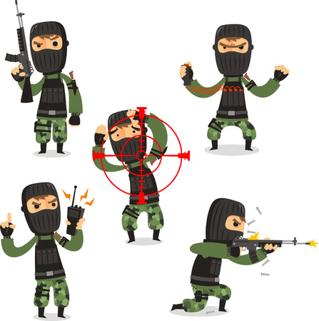 kidnapper: Terrorist Set with Mask Gun and Camouflage clothes vector illustration. Illustration