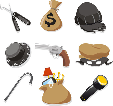 looting: thieve elements cartoon icons