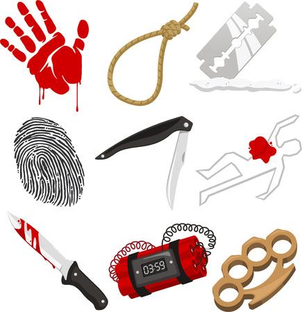 bloody hand print: Criminolog�a Polic�a escena del crimen Investigaci�n, con sangre, sangrienta de la mano, el cuerpo sangriento, cuchillo ensangrentado, huella digital, huella digital, cuchillo, navaja, plumeros de nudillo, bomba y el cuerpo muerto ilustraci�n vectorial de dibujos animados.