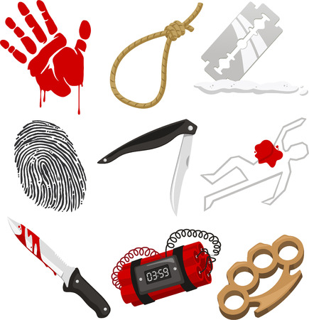 Criminology Police Crime Investigation Scene, with blood, Bloody hand, Bloody body, Bloody Knife, Finger Print, fingerprint, Knife, razor, knuckle dusters, bomb and dead body vector illustration cartoon.