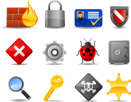 security monitor: Web Security icon set, with Firewall Badge Locked Safe Key Password. Vector illustration cartoon.