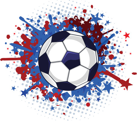 sunset painting: Soccer Football Red and Blue Splash vector illustration. Illustration