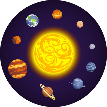Solar system planets cartoon illustration