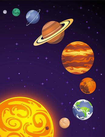 Solar system planets cartoon illustration Stock fotó - 34234321