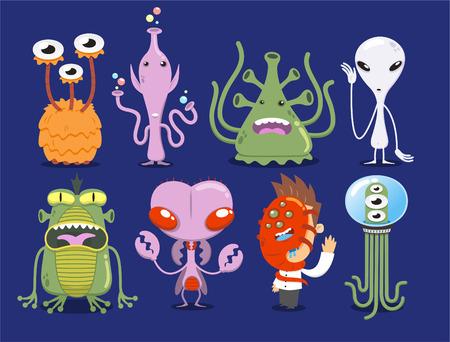 Space Alien Set UFO Monster Tentacle Spacecraft Invaders vector illustration.