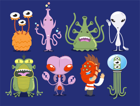Space Alien Set UFO Monster Tentacle Spacecraft Invaders vector illustration.