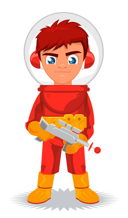 meteor crater: Little boy in space suit, making a fine space cadet. Vector illustration cartoon.