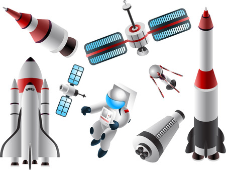 Space race cartoon icons Çizim