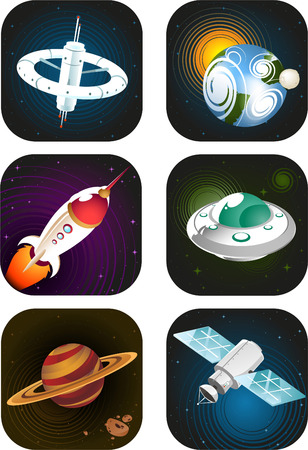 space station: Space science fiction cartoon icons Illustration