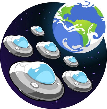 Flying saucer earth invation Vector