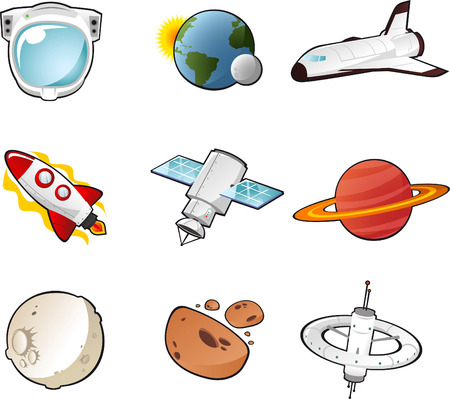 Space science fiction cartoon icons Vector