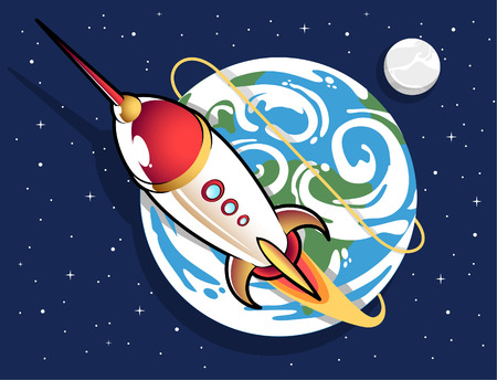 Space rocket out of earth cartoon Vector