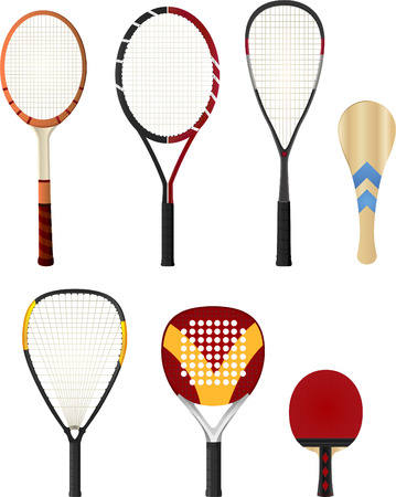 conquering adversity: Color Silhouette rackets, with tennis racket, squash racket, ping pong racket, paddle racket. Vector illustration set.