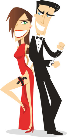 Sexy spy couple in tuxedo and dress.