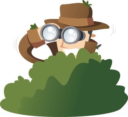 探偵私立探偵スパイ茂みの中でスパイ。ベクトル イラスト漫画。  イラスト・ベクター素材