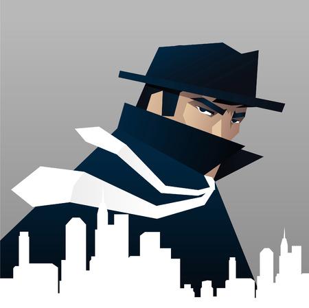 Detective Privé-detective spioneren over de stad Vector Illustratie