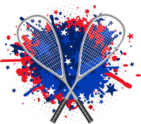 protective eyewear: Squash Rackets with red and blue splash vector illustration. Illustration