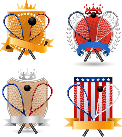 Squash sport banner badges with crowns balls and flags vector illustration.