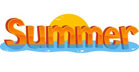 Summer Banner Teken Zon Water, vector illustratie cartoon.