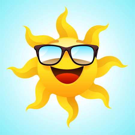Summer smiling Sun wearing glasses vector illustration.