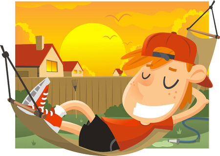 front or back yard: little boy relaxing on a hammok on a sunday afternoon. Illustration