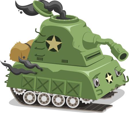 tanque de guerra: Tank War Busted, ilustraci�n vectorial de dibujos animados.