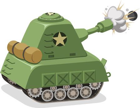War Tank shooting projectile side view, vector illustration cartoon.