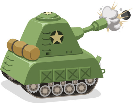 fire fighter: War Tank shooting projectile side view, vector illustration cartoon.