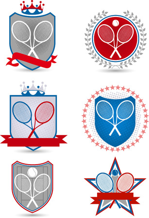 proffesional: American Tennis Emblem with banners crowns stars balls racket vector illustration.