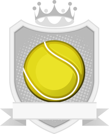 Sport Yellow Tennis Ball Equipment Emblem with Crown and badge vector illustration.