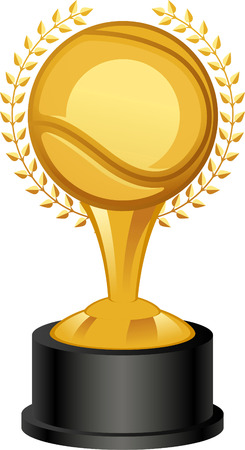 Tennis Golden Trophy Award with laurel wreath vector illustration.
