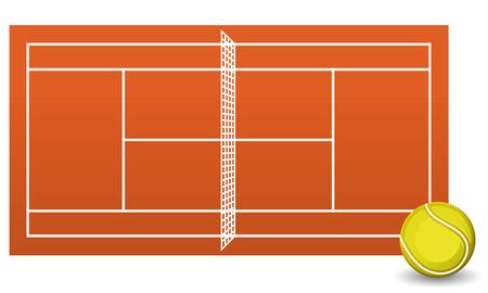 Clay tennis court field brick dust stadium with ball vector illustration.