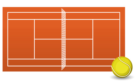 enemies: Clay tennis court field brick dust stadium with ball vector illustration.