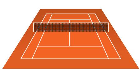 tennis clay: Clay tennis court field brick dust stadium vector illustration. Illustration