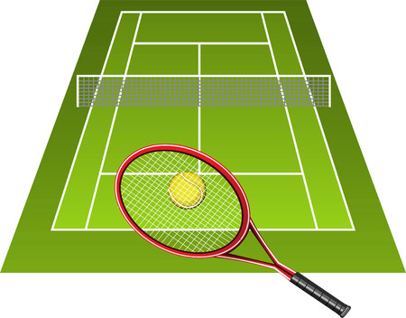 green tennis court with raquet