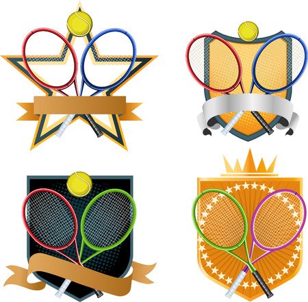 proffesional: Sport Tennis racket ball emblem with crown and Star shape, banner vector illustration.