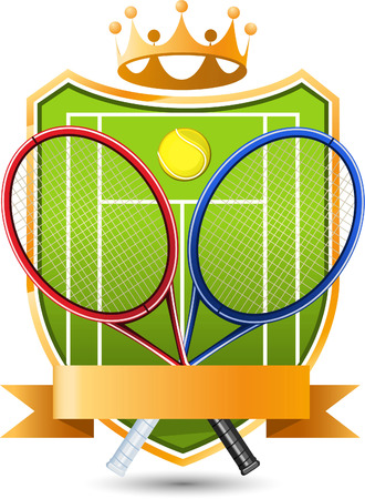 crowned: Sport Tennis green Field with racket and ball crowned Emblem vector illustration. Illustration