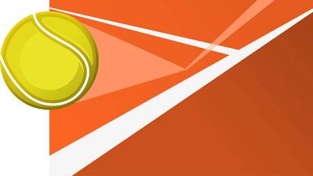 hard court: Tennis match point ball on tennis court line layout. Vector illustration.