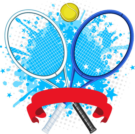 Tennis racket splash with ball and red banner and star shape vector illustration.