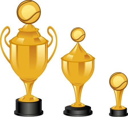 achievement clip art: Tennis golden throphies cartoon illustrations