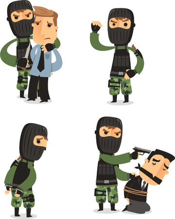 hostage: Terrorist Set with Mask Gun and Camouflage clothes, with terrorist in four different situations vector illustration cartoon. Illustration