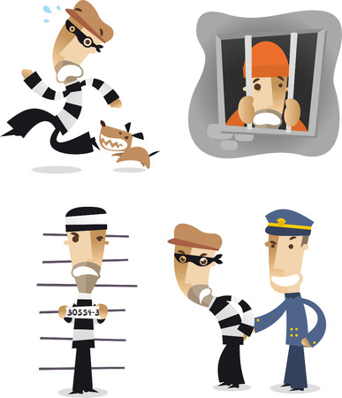 Thief in a hurry cartoon collection. Illustration