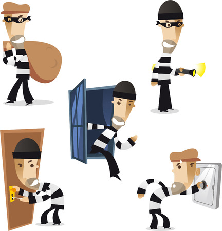thief in action illustration collection Stock Illustratie
