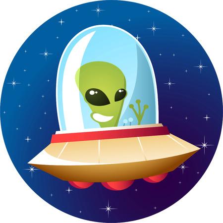 flying saucer: Alien flying saucer Illustration
