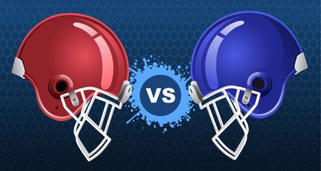 nemici: Americano calcio insegne illustrazione vettoriale con due caschi da football americano. Vettoriali