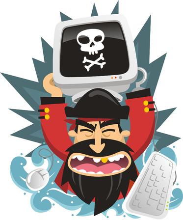 computer hacker: Pirata Computer possesso di un computer violato con il teschio pirata. Vettoriali