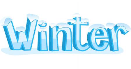 Winter Blue cold Banner Sign, vector illustration cartoon.