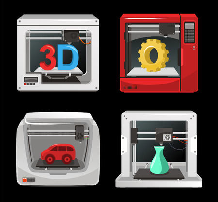 digitally generated image: 3D Printer Set, with computer software, computer three dimensional set. Digitally generated image vector illustration cartoon. Illustration